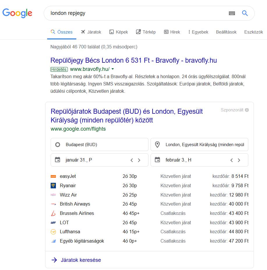 google flights találat