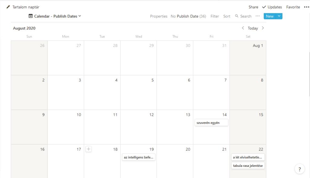 Notion naptár nézet