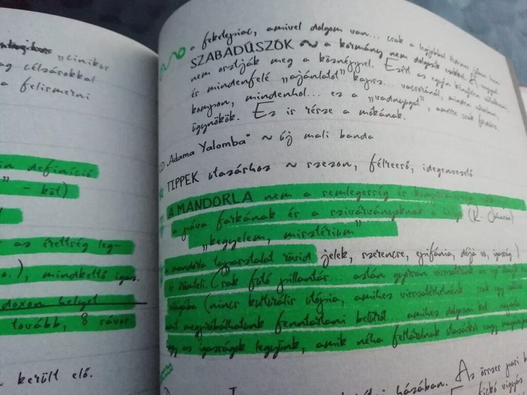 zöldlámpa jegyzetek